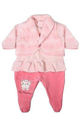 Macacão plush com casaco detalhado em babado