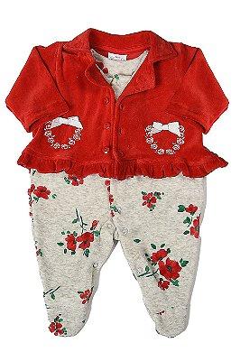 Macacão plush com casaco e bordado