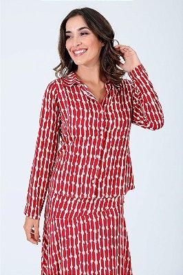 Camisa manga longa estampada de viscose