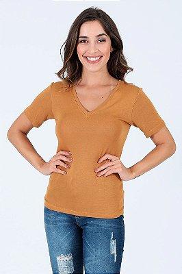 Blusa  tricot manga curta gola v