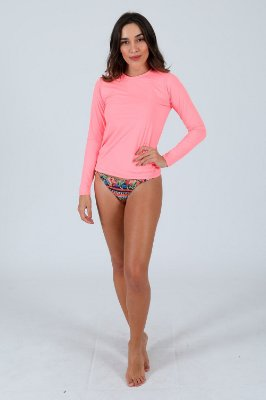 Blusa manga longa fator uv50+ moda praia