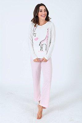 Pijama longo estampa girafa