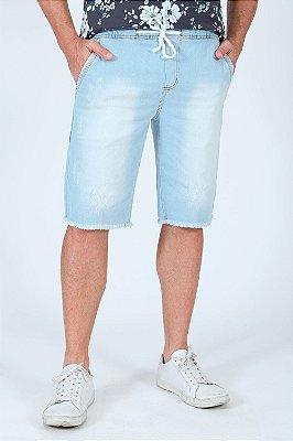Bermuda jeans com cós elástico