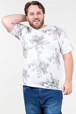 Camiseta manga curta estampa floral plus size