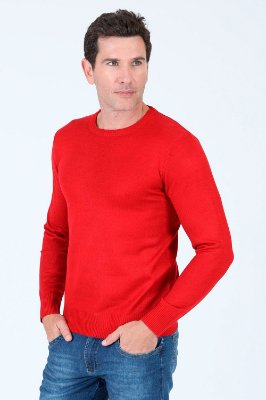 Suéter tricô gola redonda