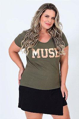 Camiseta manga curta estampa muse plus size