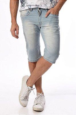 Bermuda jeans reta clara