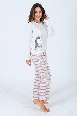 Pijama longo com calça xadrez