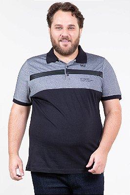 Camisa polo manga curta com recorte em piquet na parte superior