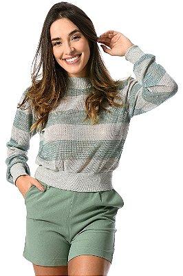 Blusa manga longa listrada em tricot