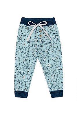 Calça (culote)  sem pé cós com detalhe de amarrar dois botões estampado em suedine