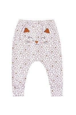 Calça (culote) com pé reversível  estampa oncinha detalhe  bordado gatinha em suedine