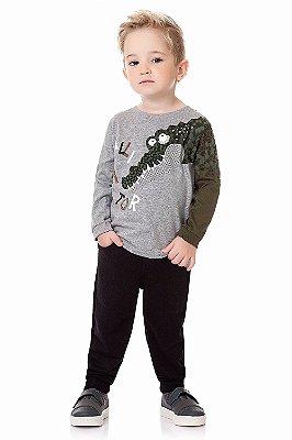 Conjunto infantil camiseta malha com calça moletom