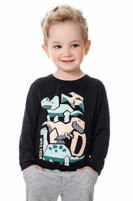 Camiseta infantil meia malha  manga longa estampa local wild friends