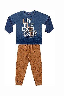 Conjunto algodão malha camiseta manga longa sobreposta estampa local