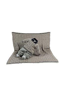 Saída maternidade menino plush tricot com manta henry