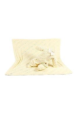 Saída maternidade menino sued tricot com manta