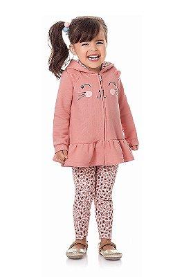Conjunto infantil casaco moletom com legging kiko e kika