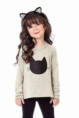 Blusa infantil malha tricot manga longa com estampa frontal gato