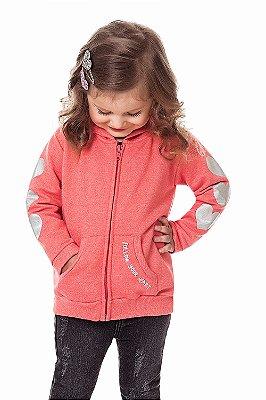 Jaqueta infantil manga longa com bolso em moletom