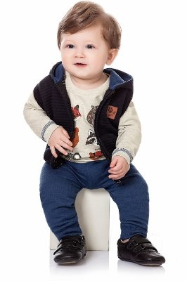 Conjunto bebê  3 peças camiseta manga longa colete com capuz calça lisa em moletom