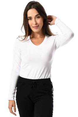 Blusa manga longa decote v malwee