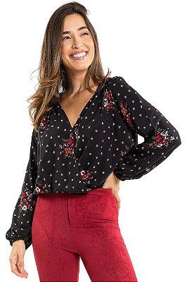 Blusa manga longa transpassada floral em viscose lunender