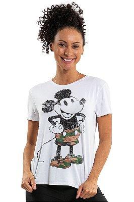 Blusa manga curta estampa mickey com apliq pedraria