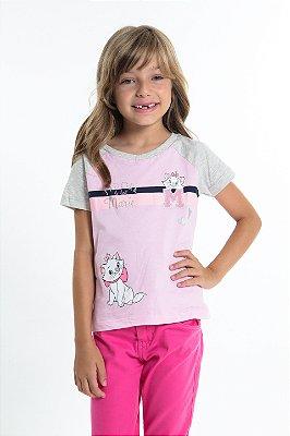 Blusa infantil manga curta raglan estampa marie
