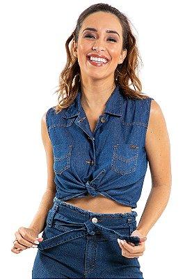Camisa jeans cropped com amarração