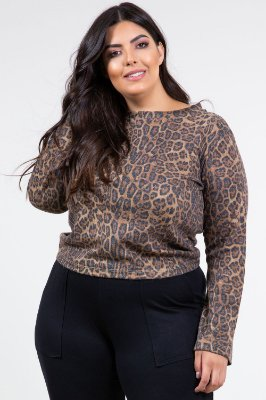 Blusa manga longa animal print plus size