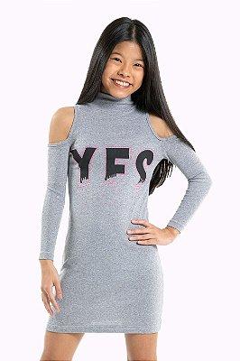 Vestido juvenil manga longa com recorte e gola alta