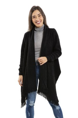 Casaco manga longa com franja em tricot