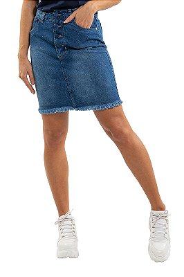 Saia jeans curta com botões