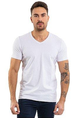 Camiseta manga curta gola em v