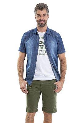 Camisa jeans manga curta colarinho com detalhe em recorte
