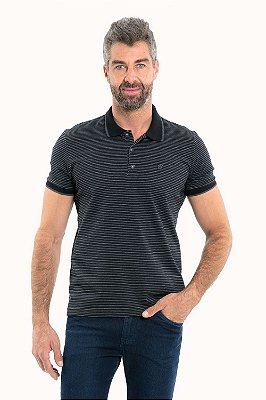 Camisa polo manga curta com botões listrada com detalhe bordado