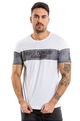 Camisa polo manga curta  piquet com recortes em tela e estampa central