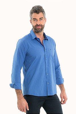 Camisa reta manga longa estampa ícone de repetição com bolso detalhe bordado