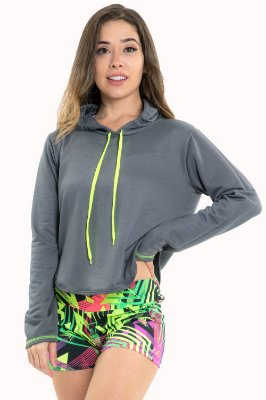 Blusa manga longa  com capuz fitness
