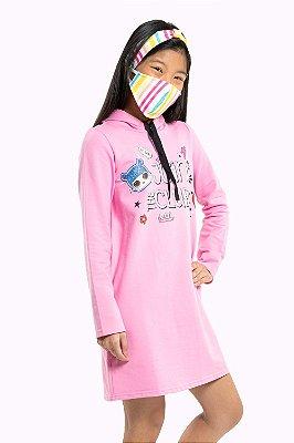 Vestido juvenil manga longa com capuz