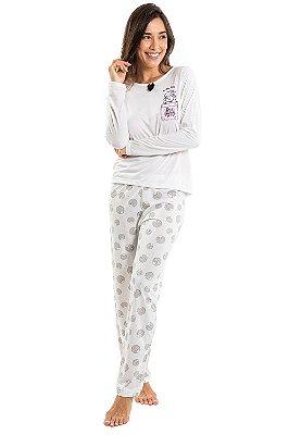 Pijama manga longa com estampa ovelha