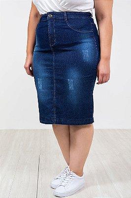 Saia jeans média plus size