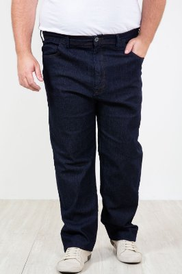 Calça jeans reta lisa plus size