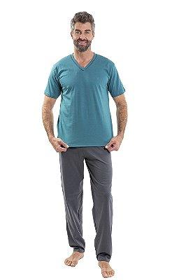 Pijama manga curta com calça  em malha
