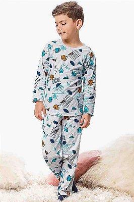 Pijama infantil manga longa estampa baseball