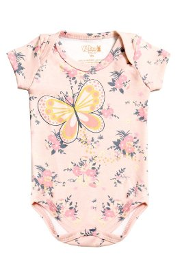 Body suedine avulso manga curta estampa borboleta