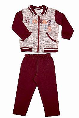 Conjunto moletom jaqueta com bolso e calça