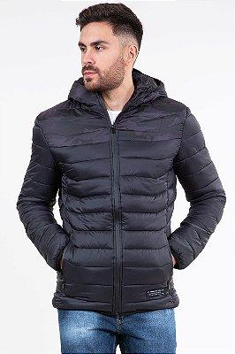 Jaqueta microfibra com capuz e bolso