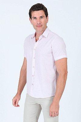 Camisa manga curta reta  mescla com detalhe bordado